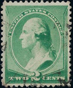 1887 Green 2 CENT WASHINGTON Jumbo Hinged Stamp Light Fancy Cancel VF NG  US 213