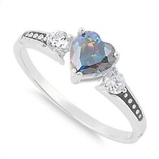 NEW GORGEOUS MYSTIC TOPAZ HEART & STERLING SILVER RING, SIZE 7.25