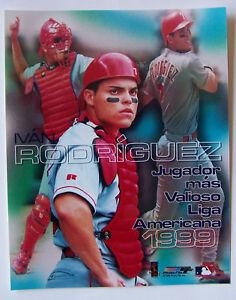 IVAN RODRIGUEZ 8X10 PHOTO Jugador mas Valioso Liga 1999 *VERY RARE FIND*