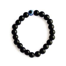 Black Crystal Evil Eye Bracelet 8mm with Elastic Cord