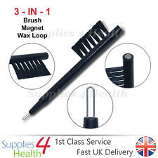 3 in 1 Hearing Aid Cleaning Magnet Brush Wax Removal Loop Battery Insert Tool
