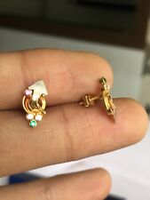 18ct Gold Stud Arrow CZ Earrings - Clear Crystal Stone With Flower Jewellery 750