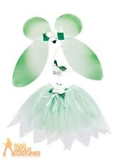 Kids Girls Green Fairy Set Pixie Forest Nymph Book Day Week Fancy Dress Outfit