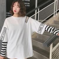 Women T-Shirt Fashion Punk Fake Two-piece Off-The-Shoulder Long Sleeve Tops P gt