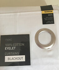 NEXT White Narrow Width Twill Blackout Eyelet Curtains 135 X 229 cm Brand New