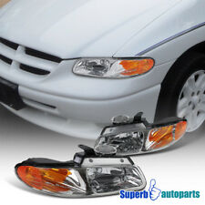 96-00 Dodge Caravan Chrysler Town & Country Chrome Headlights+Amber Reflector