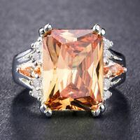 Huge Princess Amethyst Citrine Women 925 Silver Jewelry Engagement Ring 6-10