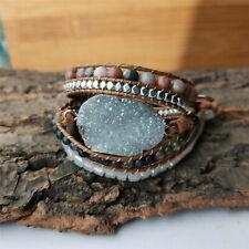 Unisex Handmade Gold Titanium AB Real Druzy Leather Wrap Bracelet Holiday Boho