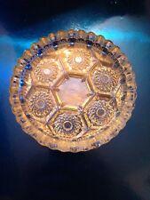 "Vintage Diamond Cut Clear Glass Sunburst 4.25"" Ashtray/coaster/dish Marked ITALY"