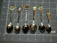 LOT OF 6 VINTAGE SOUVENIR COLLECTOR SPOONS W/ ENAMEL HEADERS OREGON, FLORIDA