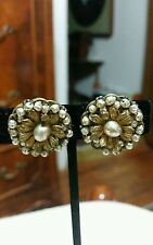 Signed Miriam Haskell Baroque Pearl Clip Earrings