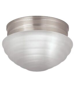 Project Source -Pack 7.48-in W Brushed nickel Flush Mount Light