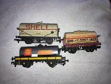 3 x 00 Gauge Tanker Wagons/Trucks Shell Etc Mainline