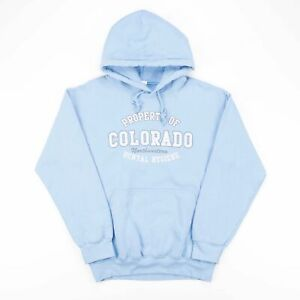 Vintage Blue COLORADO Big Logo American College Worker Hoody Size Womens Small