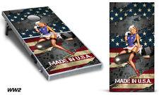 Custom Cornhole Wrap for Bean Bag Toss Game Corn Hole Vinyl Decal Sticker WW2