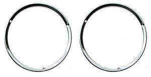 NEW 1967 - 1968 Ford Mustang Headlight Door Ring, Bezel Chrome Pair
