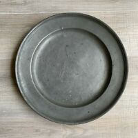 """Antique 1700's Forged Pewter Platter Plate Bowl 16 1/4"""" Large Marked"""