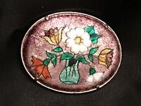 Antique French Enamel Floral Brooch Flower Bouquet Pin Lalique Art Nouveau Vtg