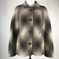 Pendleton Women Brown Ombre Textured Button Front Blazer Made in USA sz L/P