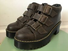 """Rare Dr Doc Martens """"Coppola""""  Brown Leather Heeled Ankle Boots Sz 6 Eu 37"""