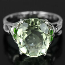 NATURAL 12X10 MM. OVAL GREEN AMETHYST & CZ STERLING 925 SILVER RING SIZE 5.75