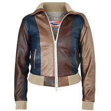 DR ROMANELLI $2100 colorblock metallic bronze x blue DrX leather biker jacket M