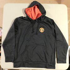 Men's Large Manchester United Black Pullover Hoodie Sweatshirt 100% Polyester