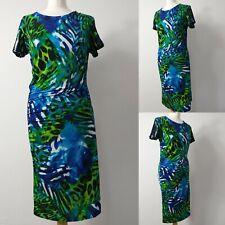 JOSEPH RIBKOFF UK14 Multicoloured Green Blue Sexy Bodycon Gathered Party Dress