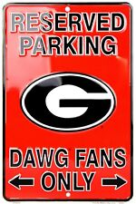 """Reserved Parking Georgia Bulldogs Fans Only 8"""" x 12"""" Embossed Metal  - SALE"""