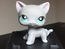 Littlest Pet Shop Cat #126 Grey Short Hair Pink Ears White Paws Blue Dot Eyes