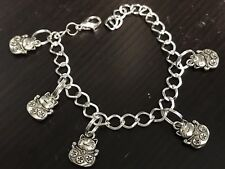 "Asian Lucky Cat Smiling with Coins Charm Tibetan Silver 8"" Clasp Bracelet BIN"