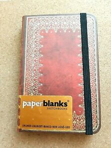 Paperblanks Foiled Mini Hardback Sketchbook - Red Brown Leather Look, Foil - NEW