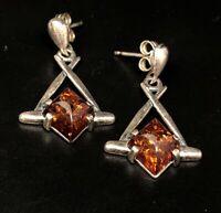 Vintage Sterling Silver Earrings 925 Baltic Amber Modernist Dangle
