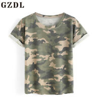 Summer Women Short Sleeve Camouflage Casual T-shirts Tops Shirts Blouse Tee CHK