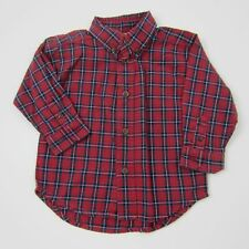 Heartstrings Boys Top Plaid Casual L/S Shirt 100% Cotton Red Blue Size 24 Months