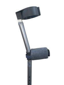 Padded Crutch Handle Covers EASY FIT Pads Crutches Hand Light Grey Free P&P