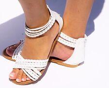 Women's Sandal Back Zip Flat Gladiator Open Toe Casual Flip Flops Ankle Strap