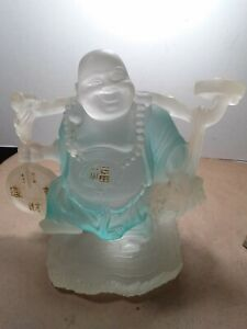 Incredible vintage acrylic,lucite Asian Happy Smiling Buddha 6.3 x 7.5 x 4.3