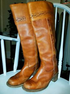 Vintage 1970's FRYE Knee High Leather Campus Boots Sz. 6.5 B