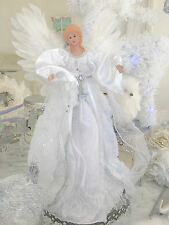 "16"" Shabby Christmas White Sparkle Angel Tree /Table Topper Chic Decoration"