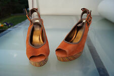 Bruno Banani Damen Schuhe Pumps High Heels Abendschuhe Leder Gr.40 orange NEU