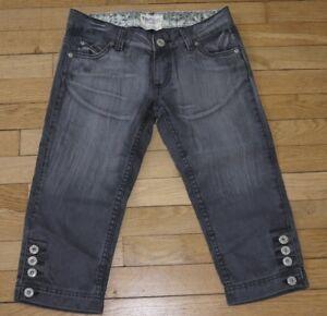 TRF Pantacourt en Jeans pour Femme W 24  Taille Fr 34 (Réf # X109)