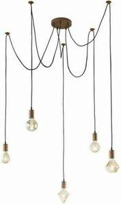 Industrial 5 Light Cord Cluster Pendant Antique Copper NEW (K)