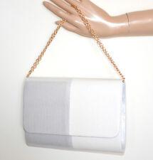 BOLSO CLUTCH bag mujer blanco plateado glitter elegante cadena dorada Sak G24