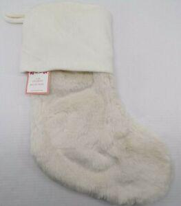 "Pottery Barn Kids Faux Fur Christmas Holiday Stocking 20x 11"" Ivory #70"