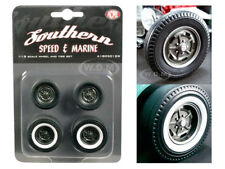"""WHEELS AND TIRES SET OF 4 """"KIDNEY BEAN HOT ROD"""" 1/18 BY ACME A1805012W"""