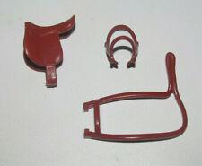 Playmobil Lot Accessoire Cheval Equitation Cowboy Selle + 2 Harnais Marron Clair