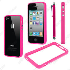 Housse Coque Etui Bumper Contour de protection Rose Apple iPhone 4S 4 + Stylet