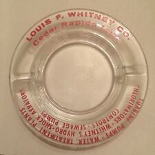 Vintage Louis F Whitney Company Turbine Pumps Cedar Rapids Iowa Glass Ashtray