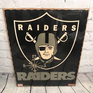Vtg 1994 Oakland Raiders Starline Wall Clock NFL Football 90s Man Cave Black